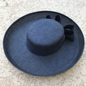 VINTAGE Navy Sonni San Francisco Straw Hat W Bow
